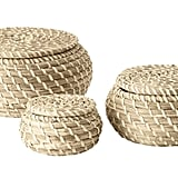 Keep toiletries tidy with these lidded baskets ($10 for three).