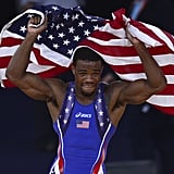 "Jordan Burroughs — whose Twitter handle is ""AllISeeIsGold"" — has been dreaming of the day when he's able to stand atop the podium. By defeating Iran's Sadegh Saeed Goudarzi in the men's 74-kilogram freestyle Olympic wrestling final, he made his dream a reality. In addition to the gold, Burroughs will also be awarded $250,000 from USA Wrestling through its Living the Dream Medal Fund."