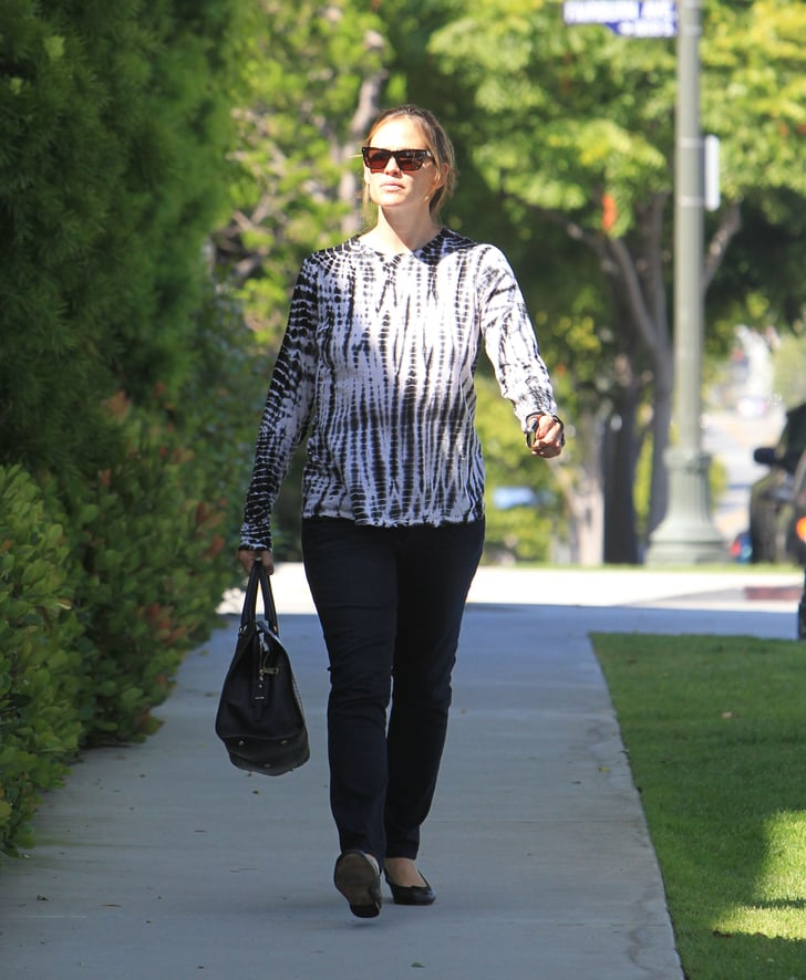 Jennifer Garner wore jeans and a black-and-white shirt in LA.