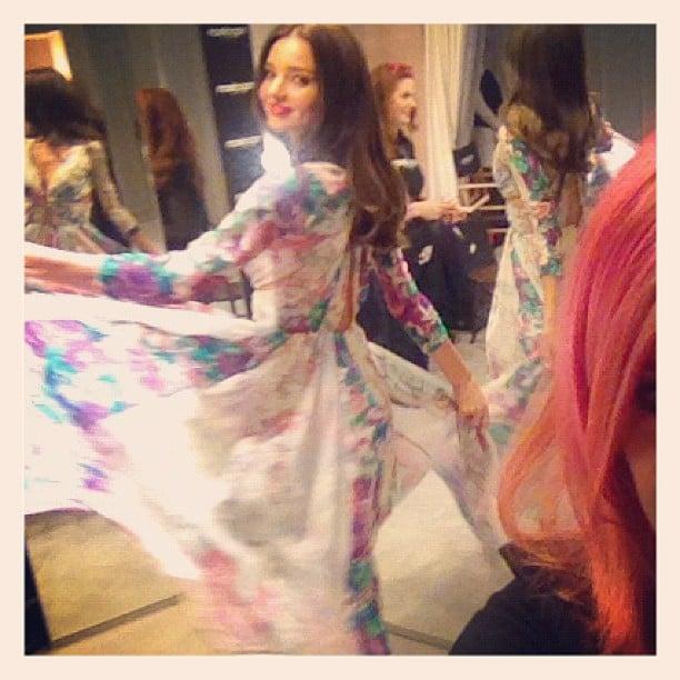 Miranda Kerr showed off a floaty dress while backstage at the David Jones fashion show. Source: Instagram user mirandakerrverified