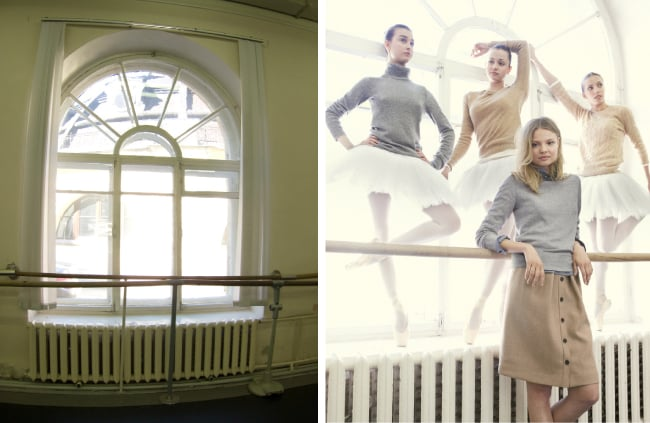 """""""Many of the dance studios we scouted were basic and dark. When we found these windows, I knew we had to take advantage of the milky (and ever forgiving) backlight."""""""