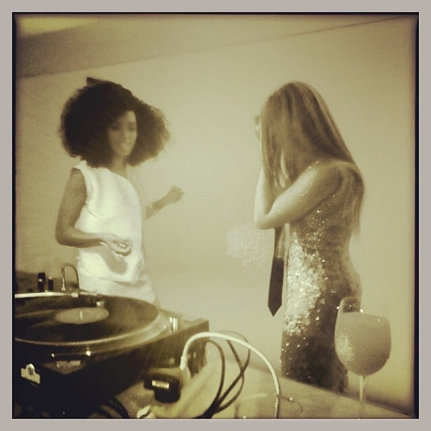 Solange and Beyoncé Knowles hung out together in the DJ booth during the premiere of her HBO documentary. Source: Instagram user questlove
