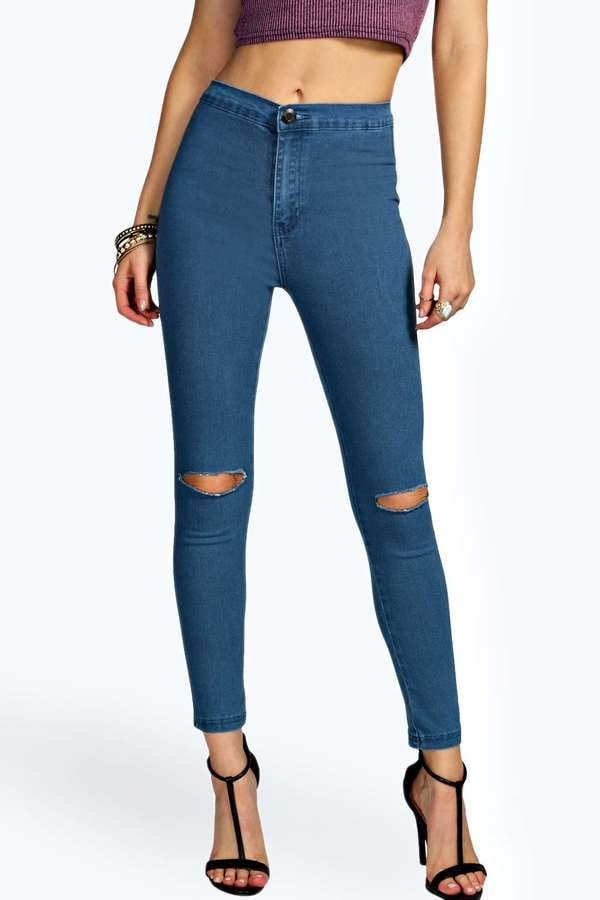 Boohoo Petite High Waisted Slit Knee Skinny Jean ($44)