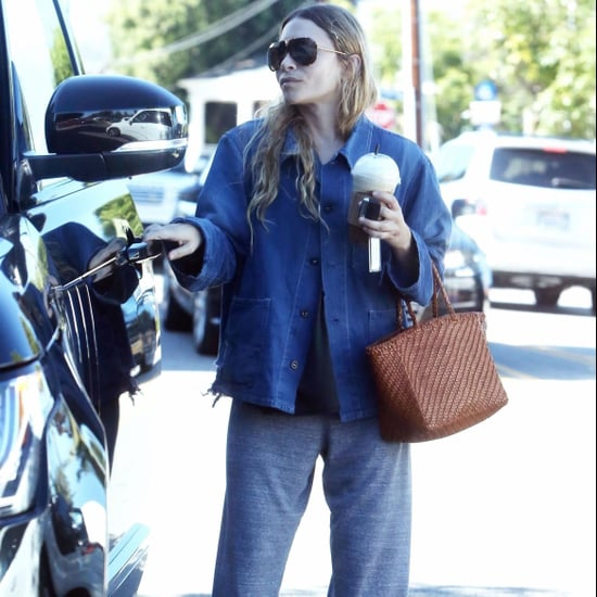 Ashley Olsen's Brown Wicker Bag