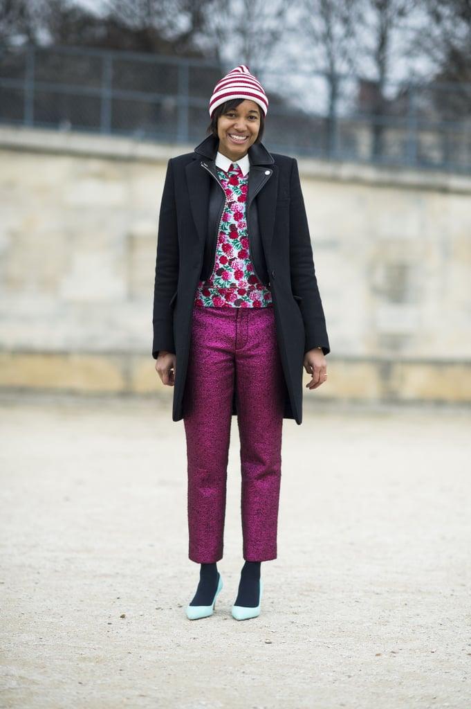 Raspberry hues linked the standout pieces in this ensemble. Source: Le 21ème | Adam Katz Sinding