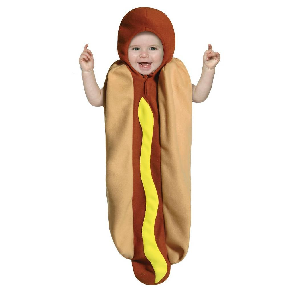 infant hot dog bunting costume | warm halloween costumes for babies