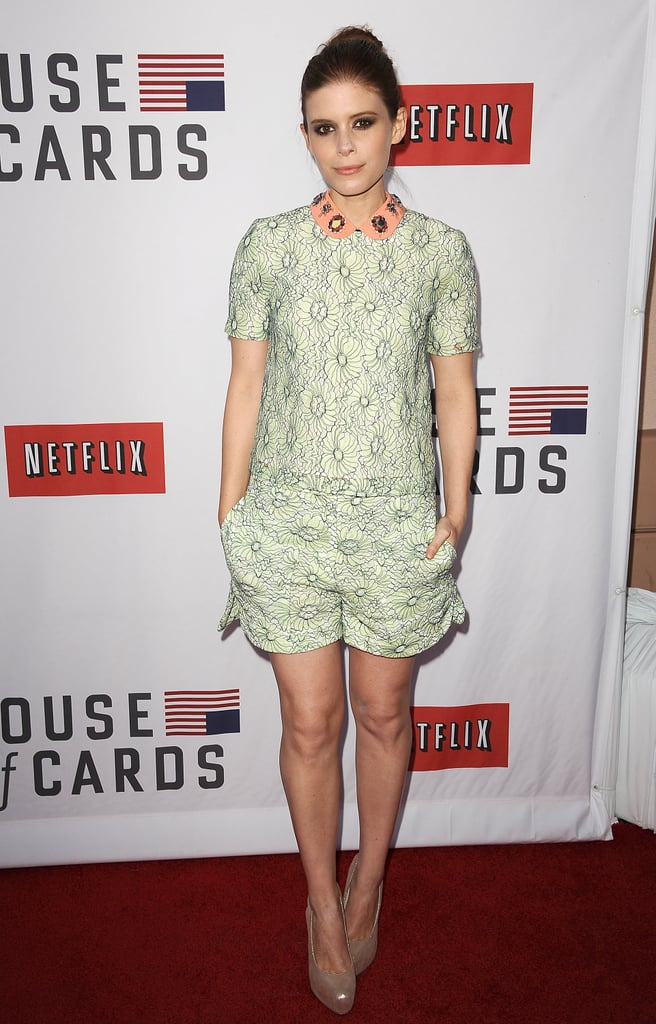 We could all take a lesson from Kate Mara when it comes to her playful embellished collar. While a romper isn't for every office, she proved that the right print and not-too-short shorts can give off a demure look.