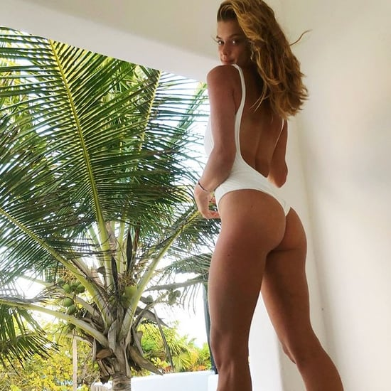 Nina Agdal White One-Piece Swimsuit