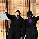 Barack and Michelle hold hands on Feb. 10, 2007, the day he announced he was running for president.