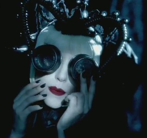 Gaga vision! These lace-lens goggles make the singer look like a queen bee.