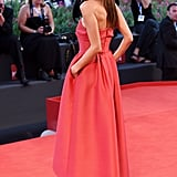 Alessandra Ambrosio wore red to the Thursday premiere of La Rancon De La Gloire.