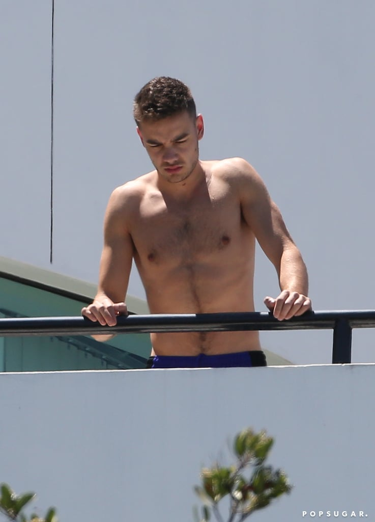 Liam Payne went shirtless on a balcony in LA in August.
