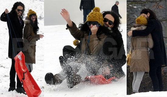 Fun Photos of Russell Brand and Katy Perry Sledding in the London Snow on Hampstead Heath Christmas 2009