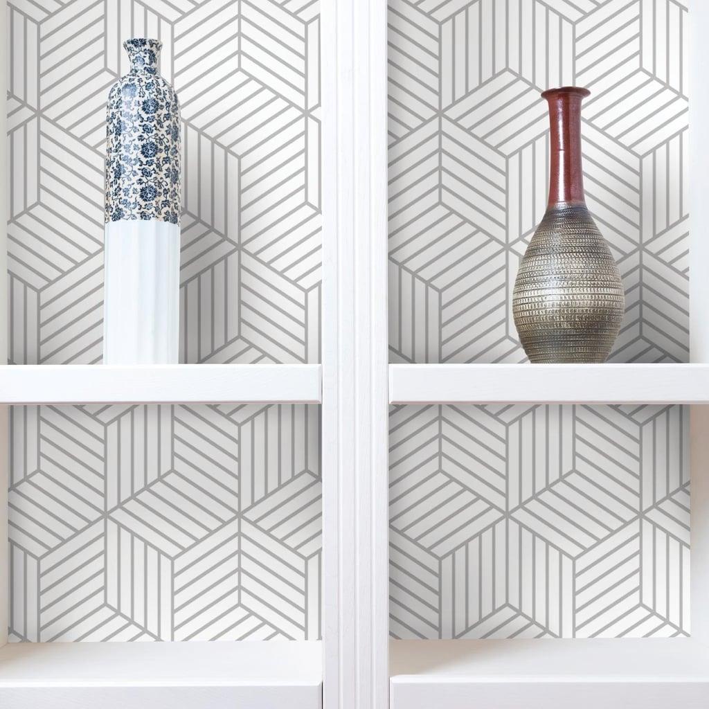 Roommates Grey Stripped Hexagon Peel And Stick Wallpaper Best Wallpaper On Amazon Popsugar Home Uk Photo 13