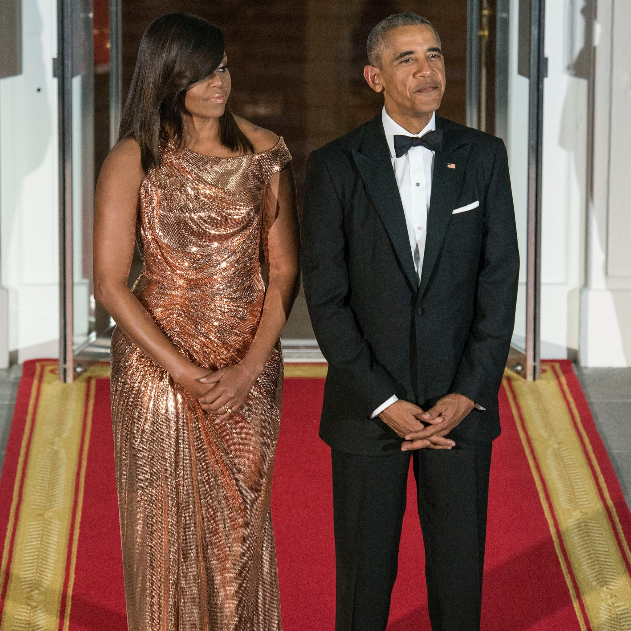 obama s versace dress at italy state dinner 2016