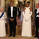 The Obamas dress up for the Queen and a state banquette in Buckingham Palace in May.