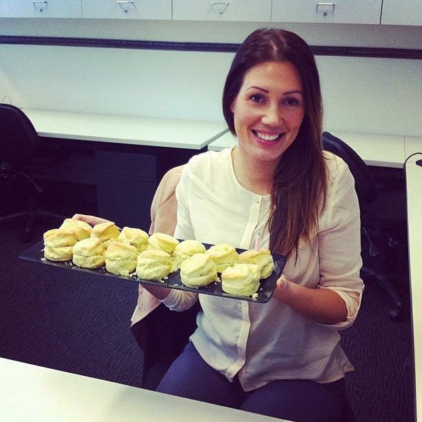ShopStyle.com.au manager Laura celebrated her birthday with scones. We helped her out — just doing our bit, you know?