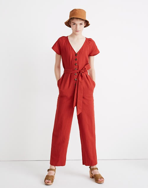 Madewell Linen-Cotton Pleat-Sleeve Jumpsuit