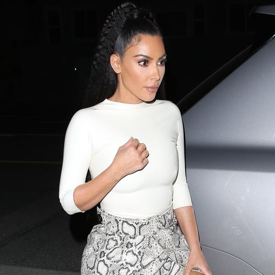 Kim Kardashian Snakeskin Skirt With Sisters Out to Dinner
