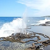 Garfors was lucky enough to be able to see the blowholes in Tonga. He says the waves push water through small tunnels, creating geyser effects on land.