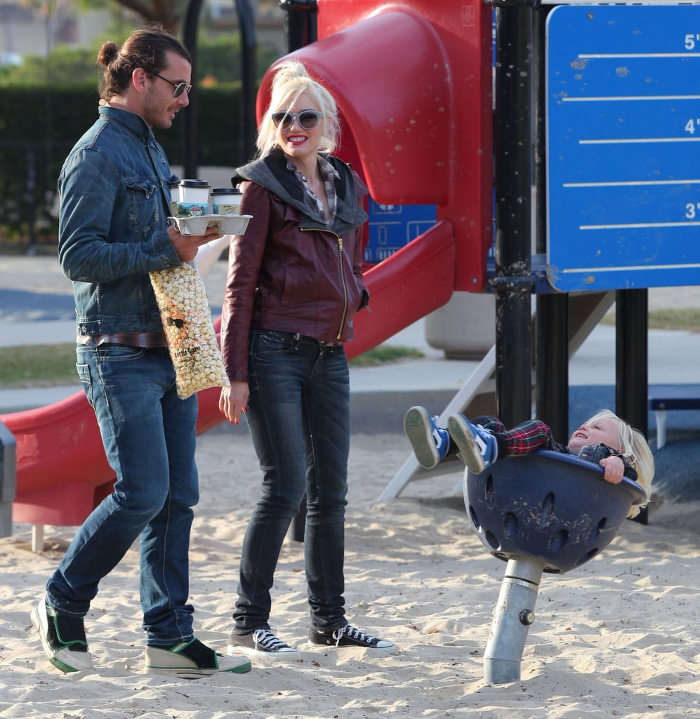 Zuma Rossdale spun around while Gwen Stefani and Gavin Rossdale looked on.