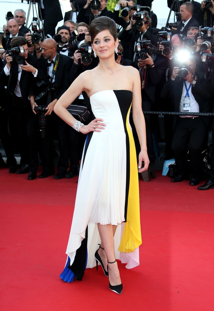 Marion Cotillard stuck to Dior in a strapless colour-blocked gown at the Blood Ties premiere at the Cannes Film Festival.