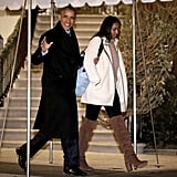 The Obamas Left the White House in Their Winter Outerwear