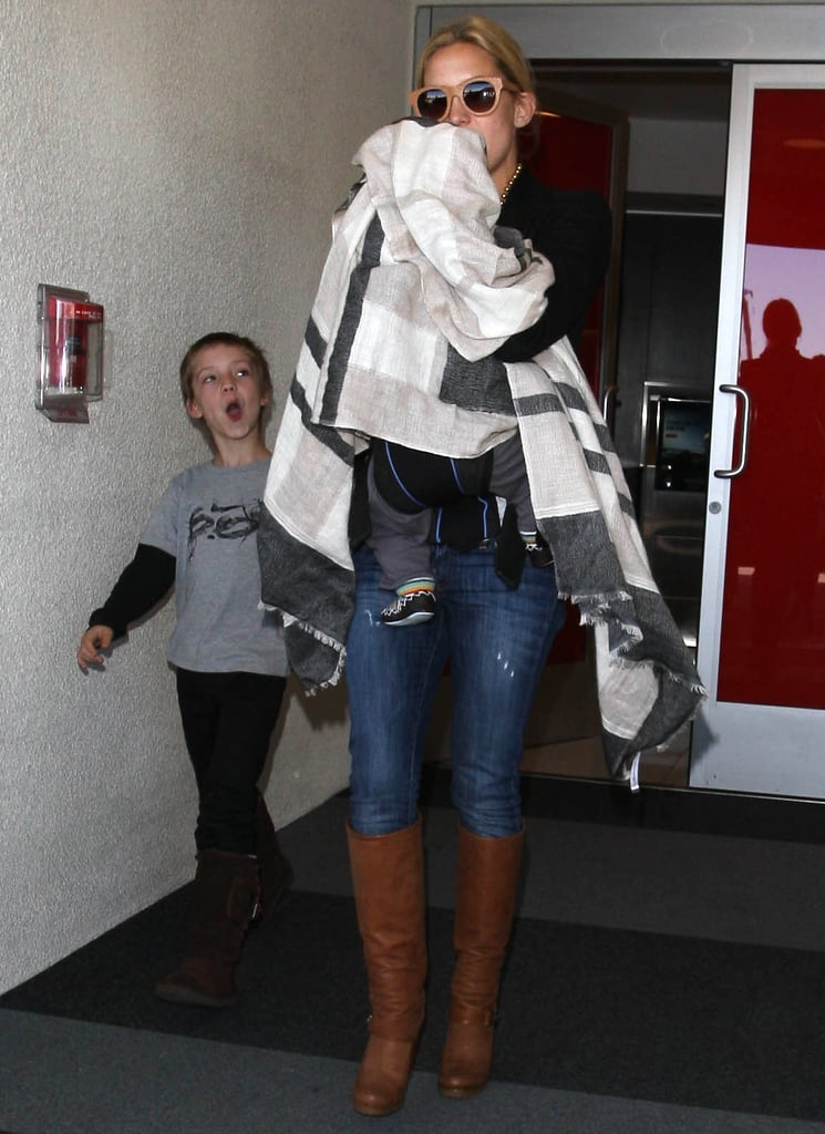 Kate Hudson at LAX with sons Ryder Robinson and Bingham Bellamy.
