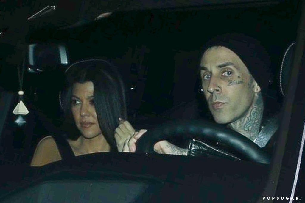 It looks like the Kourtney Kardashian and Travis Barker romance rumors are true. On Tuesday, the 41-year-old reality TV star and mom of three was spotted out on a sushi date with the 45-year-old Blink-182 drummer at Matsuhisa restaurant. The two appeared to be in good spirits as they held hands while dining outside, and they even donned similar black leather jackets.  Kourtney and Travis have been friends for years now, but it wasn't until a few months ago that their relationship turned romantic. This is the first time we've seen them out together as a couple, however, Travis has seemingly hinted at their relationship on Instagram by leaving flirty comments on her photos. Both Kourtney and Travis have children from their previous relationships; Kourtney has three kids with ex Scott Disick, daughter Penelope, 8, and sons Mason, 11, and Reign, 6, while Travis shares stepdaughter Atiana, 21, daughter Alabama, 15, and son Landon, 17, with ex-wife Shanna Moakler. See more photos from Kourtney and Travis's date night ahead.      Related:                                                                                                           Kourtney Kardashian's Dating History May Be Short, but It's Full of Good-Looking Men