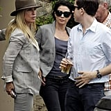 Sadie Frost and Nick Grimshaw with Meg Matthews after Kate Moss's wedding.