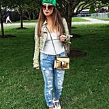 Jeans and a white t-shirt are a pretty perfect combo as is, but a music festival is a great place to add in fun pieces like a statement jacket and bright accessories.