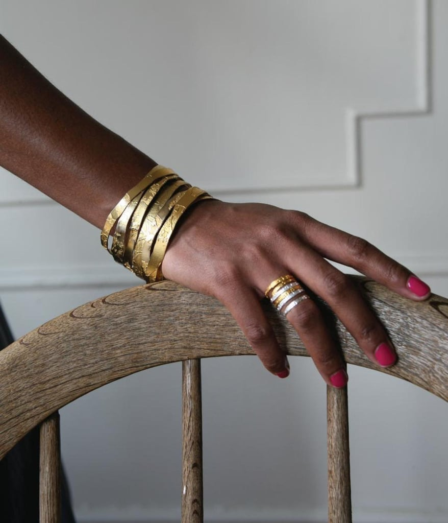 Hand-Etched Gold Plated Brass Bangle