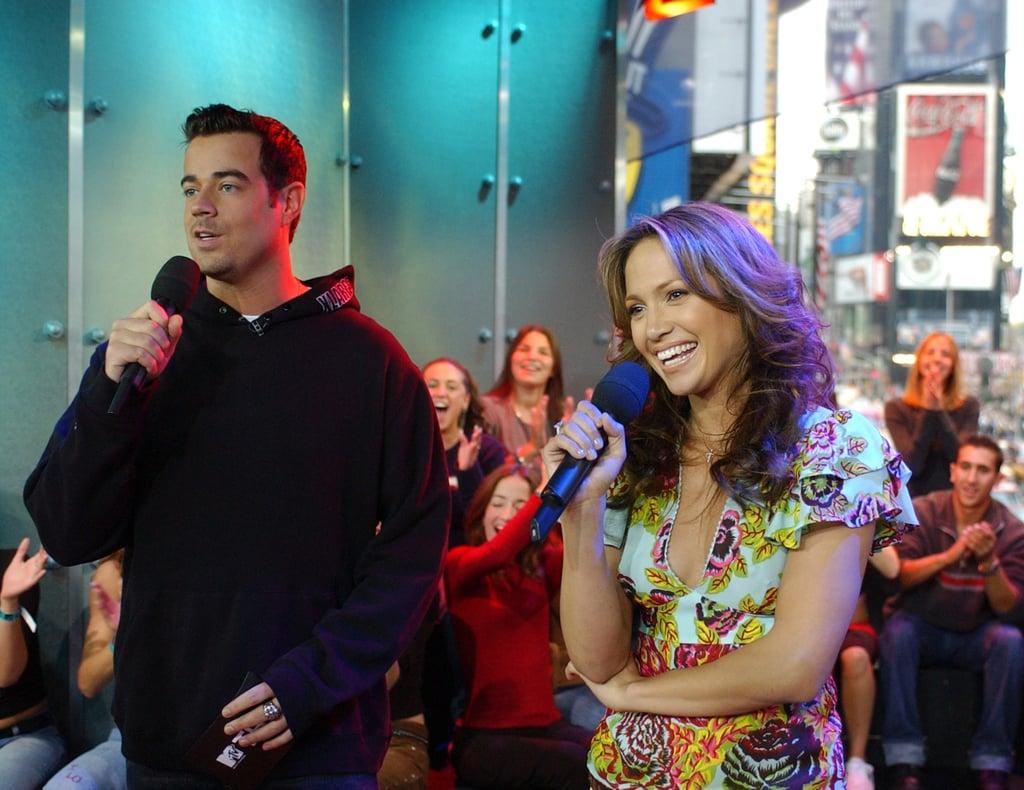 Jennifer Lopez took the mic alongside Carson Daly on TRL in 2001.