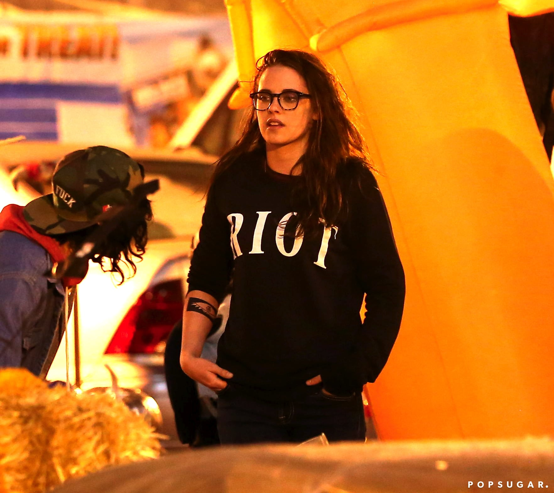 Kristen Stewart got into the Halloween spirit with her friends at a pumpkin patch.