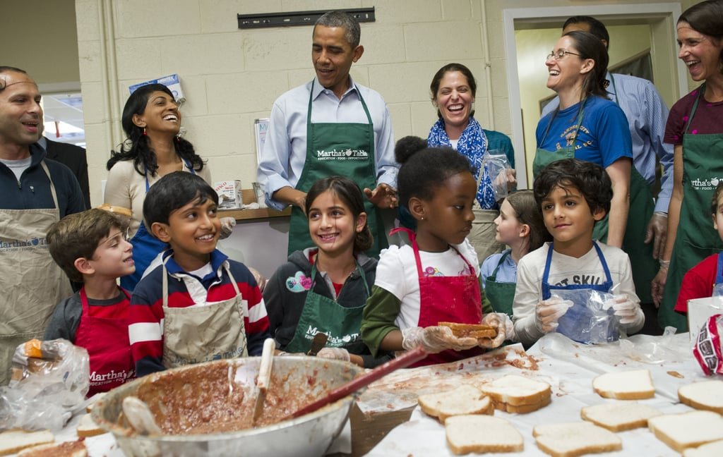 President Obama met with furloughed federal workers who were volunteering at Martha's Table on day 14 of the shutdown.