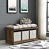 Rustic Oak Storage Bench With Totes & Cushion