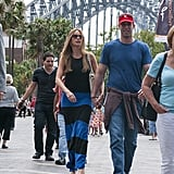 Sofia Vergara held hands with Nick Loeb as they walked around Circular Quay on Feb. 18.