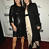 Sandra Bullock and Catherine Zeta-Jones coordinated in black-and-white ensembles during Glamour magazine's October 2006 Woman of the Year celebration in NYC.