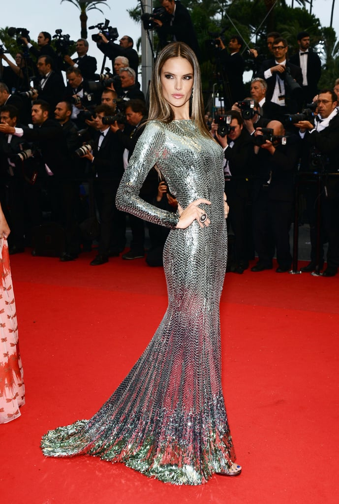 At the All Is Lost premiere at Cannes, Alessandra Ambrosio struck the fiercest pose she's got in an armor-like silver embellished long-sleeved gown by Roberto Cavalli.