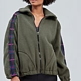 Terez Olive Glitter Plaid Fleece Jacket