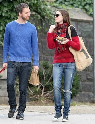 Anne Hathaway in Isabel Marant Sweater and Ash Sneakers