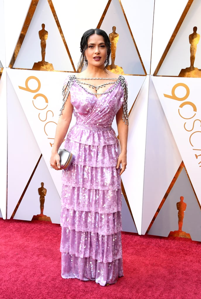 Salma Hayek Purple Gucci Dress at Oscars 2018
