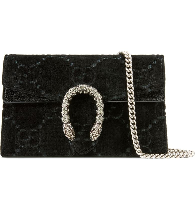 Gucci Supermini Dionysus Double G Velvet Shoulder Bag