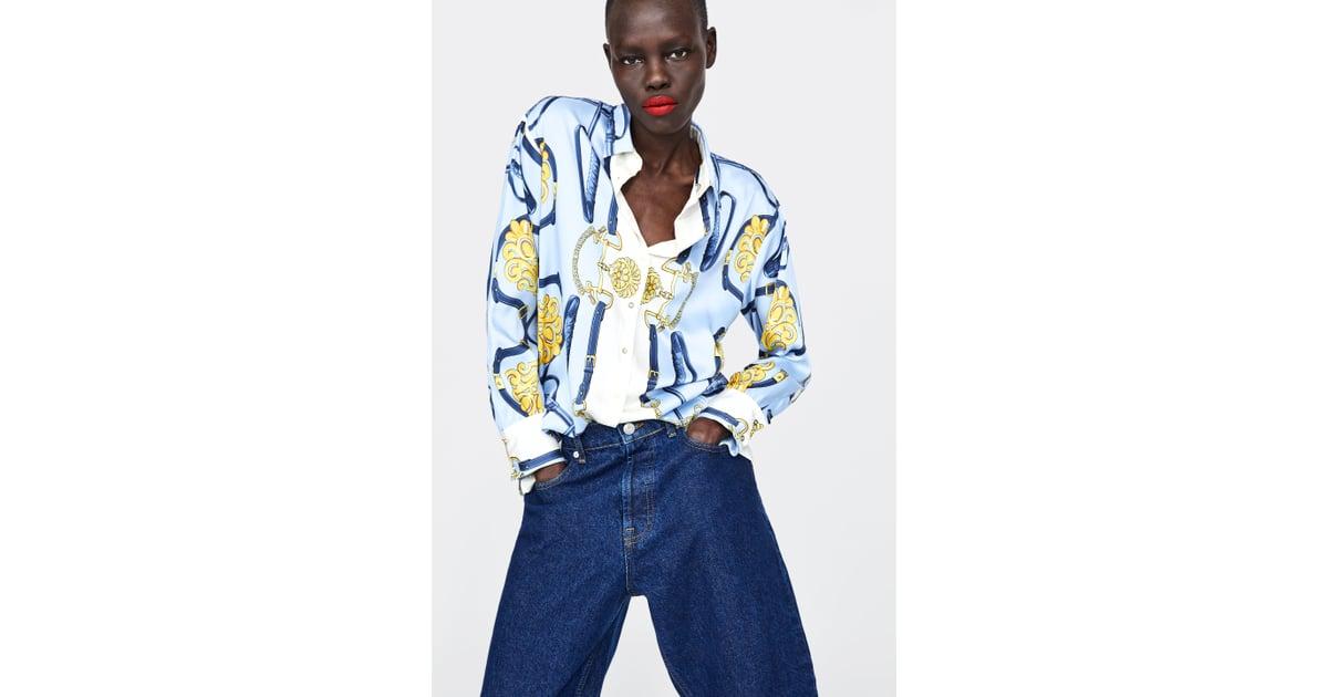 4c55da4e2ac101 Zara Chain Print Blouse