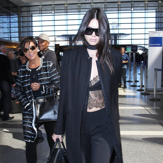 Kendall Jenner Wearing Lace Top at Paris Airport