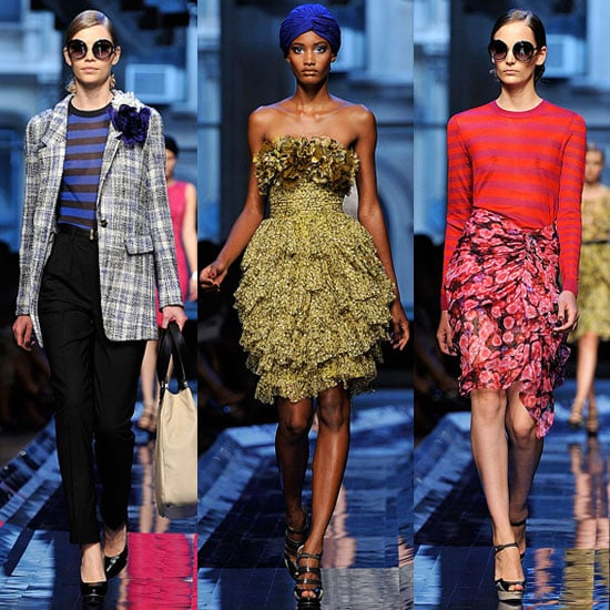 """>> After only sleeping """"two or three hours"""" over the course of the past """"literally three days,""""Jason Wu debuted an """"old Hollywood glamour""""-inspired footwear and handbag collection — firsts for the brand — alongside his collection today. The designer also introduced a new logo in his show notes, a small owl named Miss Wu, which will be attached to all of his designs — see her here. Wu explained the choice of an owl as thus: """"It's a very fashion thing to do to stay up all night, just like Miss Wu,"""" referring to his recent late nights. Diane Kruger rushed over from the FIT Couture Council luncheon honoring Karl Lagerfeld to sit front row(whereDesiree Rogers, too, occupied a seat) asJoan Smalls led the regalia down the runway, followed by Catherine McNeil. """"I was thinking about how to evolve and make luxurious versions of what we have already seen,"""" Wusaid of the collection, crediting Brazilian artist Beatriz Milhazes as his source of color inspiration. """"I always start with color. I don't even know what my story is without it."""" In Wu tradition, there werefrothy printed dresses, gowns embellished with hand-painted fabric flowers, andKarlie Kloss closed out the show — this time wearing a pink fuchsia gown."""