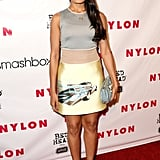 Freida Pinto walked the red carpet at a Nylon magazine event in Prada's head-to-toe car couture look.