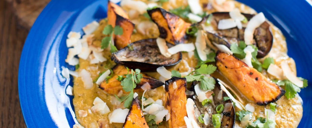 Aubergine & Sweet Potato Coconut Curry, Toasted Pita Bread