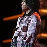 Michelle Obama Wearing a Floral Silk Robe