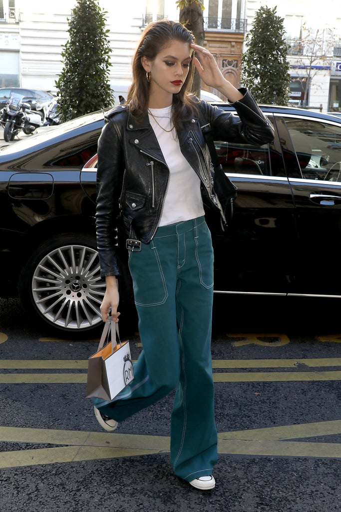 Kaia Gerber Rocked A Black Leather Jacket With Green Jeans After The